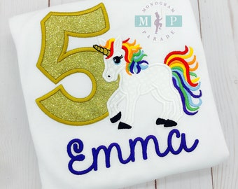 Unicorn Birthday Shirt or Bodysuit - Rainbow Unicorn Monogram - Girls Unicorn Birthday - Glitter Unicorn - Rainbow Birthday