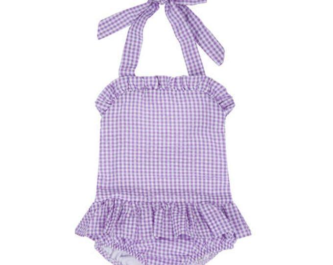 Featured listing image: Monogram Swim Suit - Toddler Bathing Suit - Girls Bathing Suit - Monogram Bathing Suit - Seersucker Swim Suit