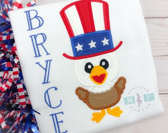 American Eagle Shirt - July 4th -Memorial Day - Boys 4th of July Shirt - Bald Eagle