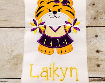 Purple and gold Gameday Tiger Cheerleader Shirt or infant Bodysuit - LSU Inspired - Cheerleader Shirt - Gameday - Girls Gameday - Baby girl