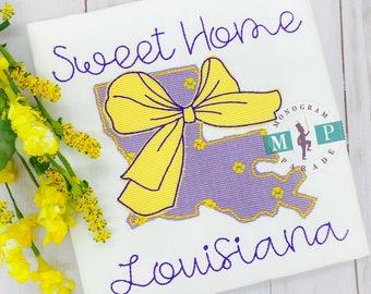 Louisiana State Shirt - purple and gold - sweet home Louisiana - vintage stitch - Tiger Paw
