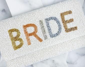 Blushing Bride Beaded Bag Ivory - Beaded Clutch - Bridal Shower - Bride to Be - Bride Purse - wedding - bachelorette