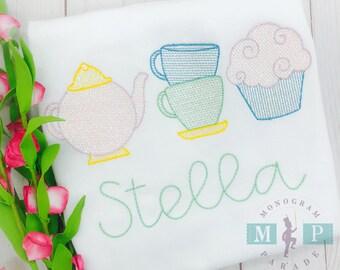 Girls Tea Party - Tea pot - cupcake bodysuit or shirt