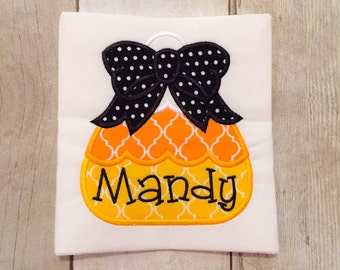 Girl's Candy Corn Halloween Shirt or Bodysuit - halloween shirt - trick or treat - bow shirt - girls shirt