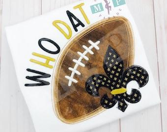 Boys football shirt - football fleur de lis - black and gold football - football appliqué - vintage stitch embroidery