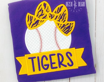 Girls Baseball Shirt - Tigers Baseball - College Baseball - Monogram Baseball - Baseball bow