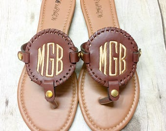 SALE! Ladies Monogram Sandals - Monogram Flip Flops - Ladies Slippers - Ladies Flip Flops - Cork Sandals