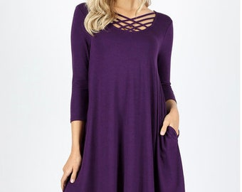 3/4 Sleeve Triple Lattice Dress with Side Pockets