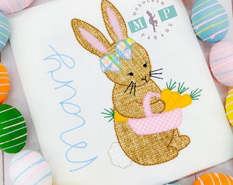 Girls Easter Shirt - Easter Bunny - Girls Easter - 1st Easter - Baby Easter - Monogrammed Bunny - Vintage Easter