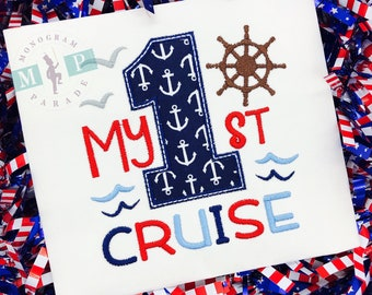 Girls cruise Shirt - 1st cruise - cruise ship - anchor - sketch embroidery
