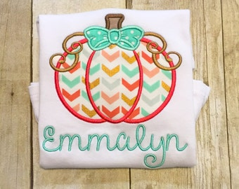 Girls Chevron Bow Pumpkin Ruffle Shirt or Bodysuit - Girls Fall Shirt - Thanksgiving shirt