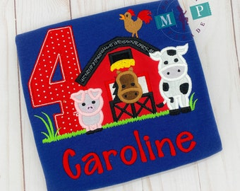 Girls Farm Birthday Shirt - Animal Birthday - Horse - Cow - Pig - Personalized - Red Barn