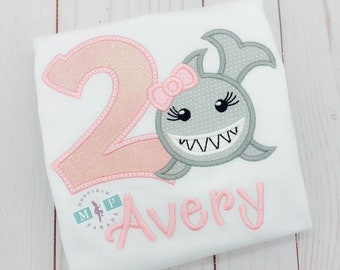 Girls Shark Birthday Shirt - Under the sea - Baby Shark
