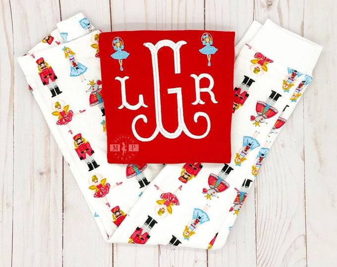 Featured listing image: Girls Christmas Pajamas - Nutcracker Pajama - Monogram Pajama - Christmas PJ - Monogram Pj - nutcracker pj - infant christmas - ballet