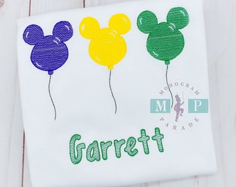 Mister mouse mardi gras - Boys Mardi Gras Shirt - Carnival - Celebration - Mouse Balloons - Personalized