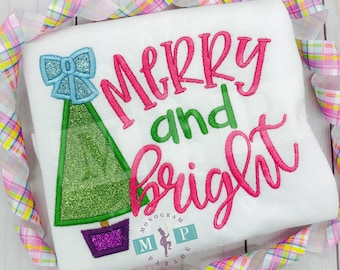 Girls Christmas Shirt - Merry and Bright - christmas appliqué - 1st Christmas - Christmas Tree