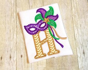 Masquerade Mardi Gras Alphabet bib, shirt or bodysuit - Mardi Gras shirt - Mardi Gras Bib - Mardi Gras Mask - 1st Mardi Gras