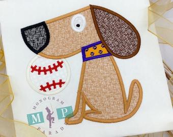Boys Baseball Shirt - baseball Dog - college baseball - monogram baseball - Dog appliqué