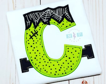 Monogram Frankenstein Alphabet - Frankenstein shirt or bodysuit - halloween shirt - 1st halloween - Franky - Monogram Franky