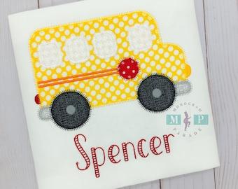 Girls School Bus - Wheels on the Bus - School shirt - school tee - back to school - bus appliqué - 1st day of school