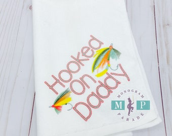 Hooked on Daddy - Towel - Fathers day - Corner grommet