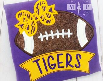 Girls Football Shirt - Tigers Football - College Football - Monogram Football - Football bow - Football appliqué