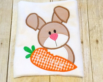 Boys Easter Bunny Shirt or Bodysuit - 1st Easter - First Easter - Monogram Bunny - Boys Easter Shirt - Easter Bunny - Bunny with carrot