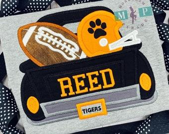 Tigers Football Truck Shirt or Bodysuit - Boys Truck Shirt - Football Shirt - SEC Football - Tiger Shirt - Football Truck/Black & Orange
