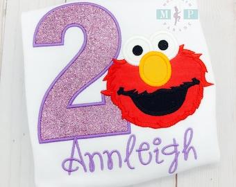 Girls Elmo Birthday Shirt or bodysuit - Elmo - Sesame Street - Monogram Birthday