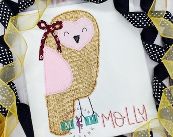 Girls Owl Shirt - Who - Bean Stitch - vintage stitch - Owl