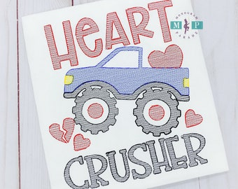 Boys Valentines Shirt - Heart Crusher - Monster Truck - Valentines-Love-Embroidery