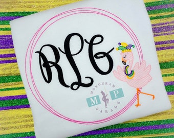 Mardi Gras Flamingo - Girls Mardi Gras Shirt - Personalized - Flamingo Monogram Frame - Dancing Flamingo