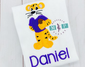 Tiger Football player - Purple and gold - Tiger Mascot  - Boys football shirt - college football - football mascot