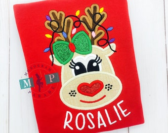 Reindeer Shirt or bodysuit - Girls Rudolph - Christmas Shirt - Christmas ornament - Christmas Lights - Reindeer Lights
