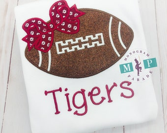 Maroon and white Glitter Football with Bow Game Day Shirt or infant bodysuit - gameday shirt - monogram football - football shirt