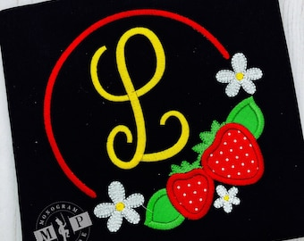 Strawberry monogram frame - Strawberry - Girls Strawberry Shirt - Strawberry appliqué - strawberry patch