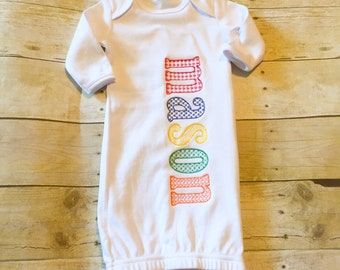 Monogrammed Baby Gown - Coming home outfit - Sketch Alphabet - New Baby - Baby Shower Gift