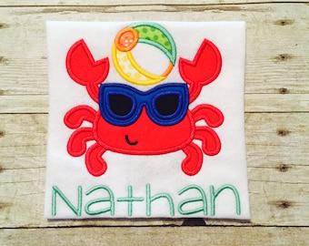 Monogrammed Crab shirt or bodysuit - beach shirt - 1st beach trip - monogrammed crab - monogrammed beach shirt - beach baby