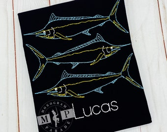 Boys Fishing Shirt - Marlin - gone fishing - Deep sea fishing - Swordfish - Vintage Stitch