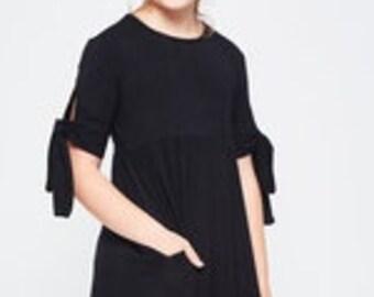 Girls Black Midi Dress