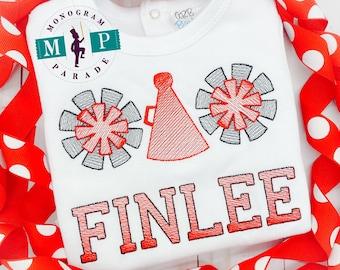 Girls Cheerleader Shirt - Sketch Embroidery - Go Team - Gameday - Personalized - Football - Cheer - Megaphone - pom pom
