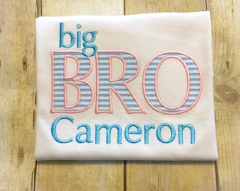 Big Brother Shirt or Bodysuit - Big Brother - Big Bro - little bro - Monogrammed Brother Shirt - Seersucker Shirt - new baby announcement