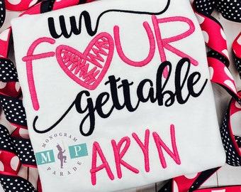 Girls Birthday Shirt - Celebration - unfourgettable - 4th birthday shirt - Personalized - Un-Four-gettable