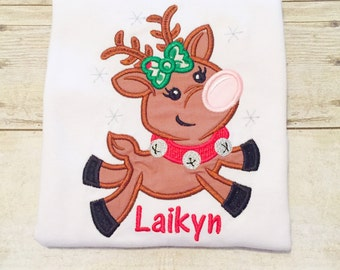 Flying Reindeer Girl Shirt or Bodysuit - Girls Christmas Shirt - Reindeer Shirt - First Christmas - Christmas Gift - Baby Christmas