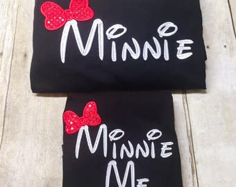 Monogram Mini and Mini Me Set - Mother Daughter Shirt Set - Mommy and Me - Minnie and Minnie Me