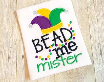 Bead me Mardi Gras Bib, Bodysuit or Shirt - Boys Mardi Gras - 1st Mardi Gras - Baby's 1st Mardi Gras - Mardi Gras Beads - Mardi Gras Baby