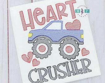Boys Heart Crusher Truck - Monster Truck - Valentine - Lover of hearts - Boys Valentines Shirt