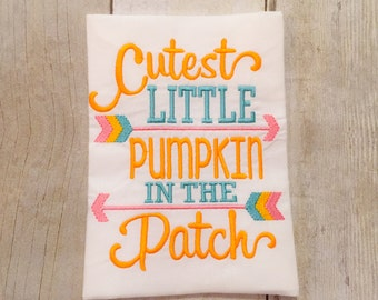 Girls Cutest Little Pumpkin in the Patch Shirt or Bodysuit - Girls pumpkin shirt - Thanksgiving shirt
