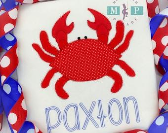 Boys Crab shirt or bodysuit - beach shirt - 1st beach trip - crab appliqué - monogrammed beach shirt - beach baby