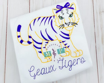 Tiger with Bow - Sketch Embroidery, Tiger Football Shirt, Monogrammed Tiger Football Shirt, Personalized